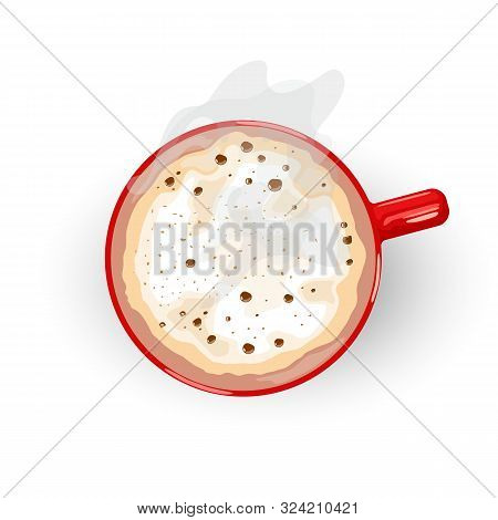 Tasty Hot Drink With Foam And Smoke Spreading From Red Porcelain Cup. Latte, Cappuccino, Flat White,