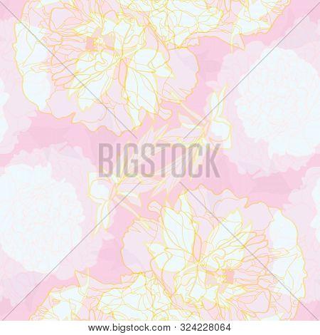 Vector Pink Abstract Elegant Festive Peony Botanical Pattern, Modern Peony Blossom In Pastel Transpa