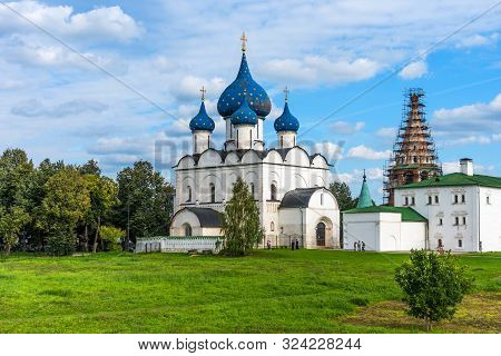 Suzdal, Russia - August, 24 2019: Panoramic View Of The Suzdal Kremlin In Suzdal, Russia. The Cathed
