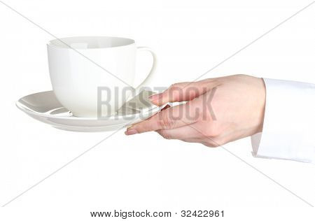 Woman hand with cup of coffee isolated on white