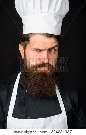 Professional Chef, Cook Or Baker. Male Chef. Food Concept. Bearded Chef In Uniform, Hat And Apron. C