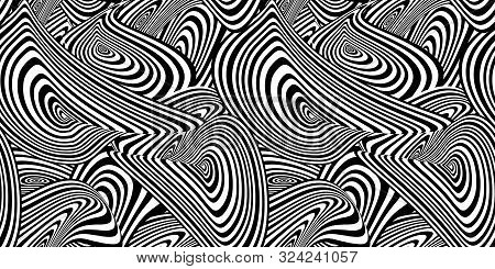 Vector Abstract Black And White Seamless Pattern, Background Template, Swirly Shapes, Striped Backdr