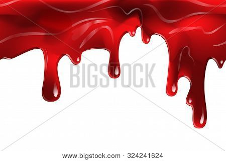 Dripping Seamless Blood. Flow Liquid, Drip Wet. Thick Red Ketchup Or Jam Flow Down Halloween Concept