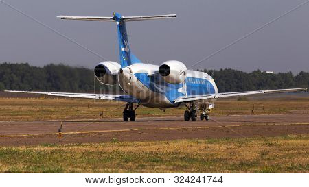 Borispol, Ukraine - September 10, 2019: Ur-dng Wind Rose Aviation Embraer Erj-145 Aircraft Running O