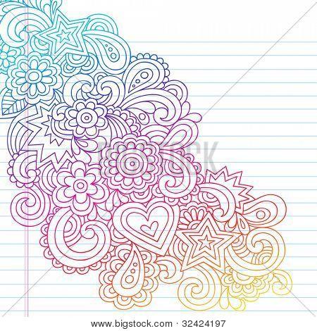 Groovy Psychedelic Flower Outline Doodles Design Element on Lined Sketchbook Paper Background- Vector Illustration