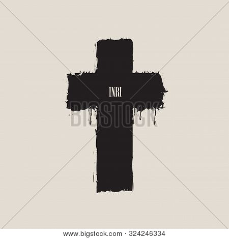 Vector Banner Or Illustration On The Religious Theme. Abstract Black Cross With Splashes, Drips And