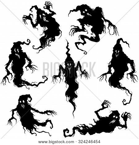 Illustration Fantasy Grotesque Ghost Spooky Creatures Set