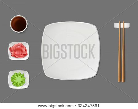 Sushi Dishware, Condiments Set With Empty Square, White, Ceramic Plate, Wooden Chopsticks On Stand,