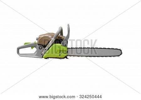 Image Of Hand Chainsaw Isolated On White Background