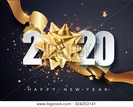 2020 Happy New Year. Happy New Year 2020 - New Year Shining Background With Golden Gift Bow And Glit