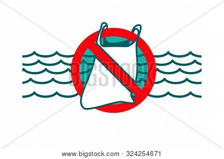 Stop plastic waste symbol. Rubbish Trash bag floating in the ocean. Discarded plastic carrier bag drifting in sea water. Environment protection concept. Disposable packaging waste poisons Marine life poster