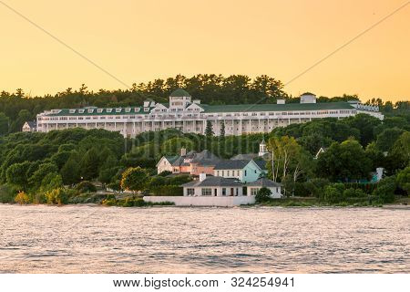 Mackinac Island Mi /usa - July 9th 2016: The Grand Hotel On Prominent Display At Sunset On Mackinac