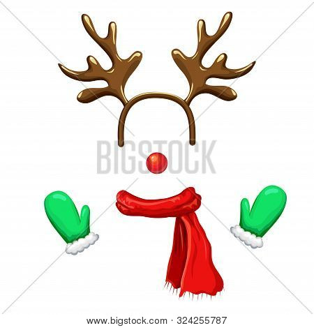 Funny Christmas Reindeer Mask With Antlers Headband, Red Nose, Scarf And Mittens Isolated On White B