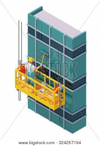 Vector Isometric Skyscraper Windows Cleaning. Suspended Scaffold, Construction Cradle Or Suspended P