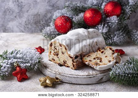 Traditional German Christmas Cake Stollen With Dried Fruits