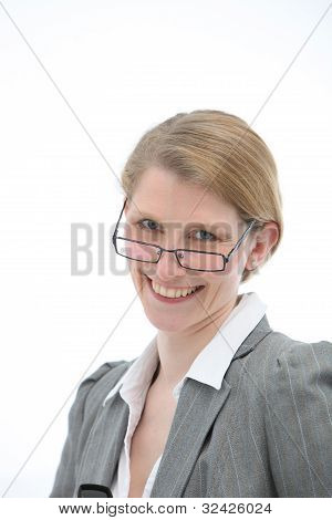 Happy Woman In Glasses