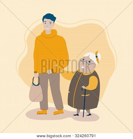 Creative Flat Design. Young Volunteer Man Caring For Elderly Woman, Adult Man Helping And Supporting
