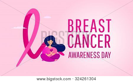 Creative Breast Cancer Awareness Design Banner With Pink Ribbon And A Young Girl Sitting Near The Ca