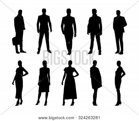 Business People, Men And Women Standing In Formal Clothing, Group Of Isolated Vector Silhouettes