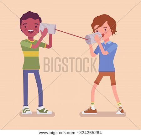 Boys Speak By Tin Can Telephone. Two Friends Playing In Mechanical String Phone, Self Made Speech Tr