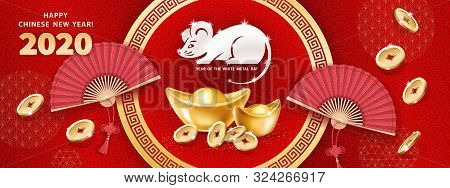 White Metal Rat Is A Symbol Of 2020 Chinese New Year. Horizontal Banner With Realistic Gold Ingots Y