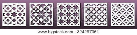 Set Of Square Panels For Laser Cutting. Abstract Geometric Pattern, Template For Metal Cut Or Wood C