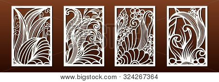 Set Of Panels For Laser Cutting. Templates For Wood Or Metal Cut, Fretwork Stencil, Paper Art. Abstr