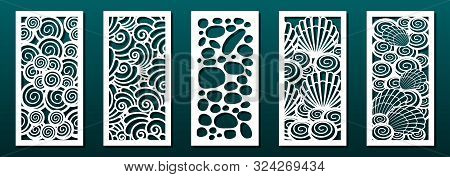 Laser Cut Pamels Template, Vector Set. Abstract Underwater Design With Seashells. Stencils, Die For