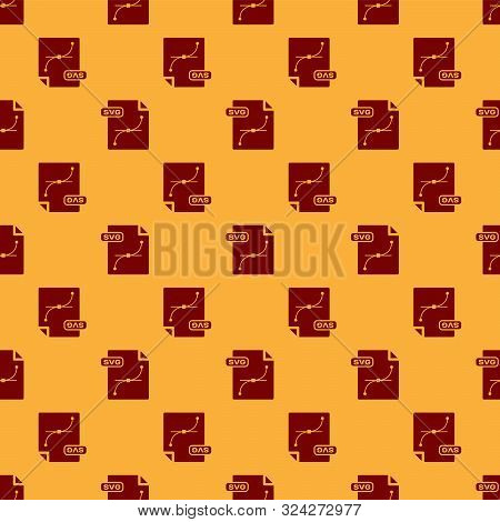Red Svg File Document. Download Svg Button Icon Isolated Seamless Pattern On Brown Background. Svg F