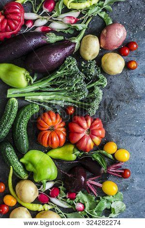 Fresh Seasonal Vegetables Food Background. Aubergines, Tomatoes, Radishes, Peppers, Broccoli, Potato