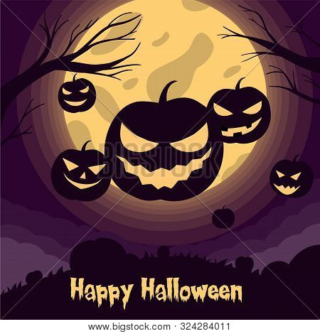 Jack O Lantern Silhouette Vector Illustration With Moon Light For Halloween Banner Also Can Use For