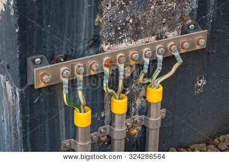 Picture Of Electrical Grounding In A Industrial Area, It Prevents Hazard In Electrical Shortcut Situ