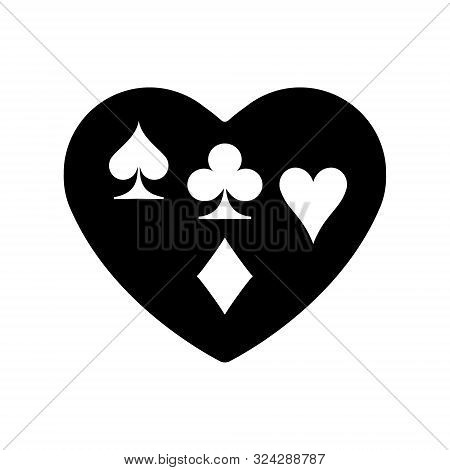 Black Heart Spades, Clubs, Diamonds, Hearts, Suit Icon. A Symbol Of Love. Valentine S Day With Sign
