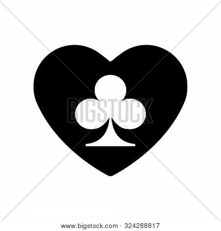 Black Heart Clubs Suit Icon. A Symbol Of Love. Valentine S Day With Sign Playing Card Suits. Flat St