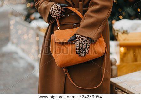 Outdoor Fashion Portrait Of Plus Size Woman Wearing Trendy Animal, Leopard Print. Concept Of Autumn