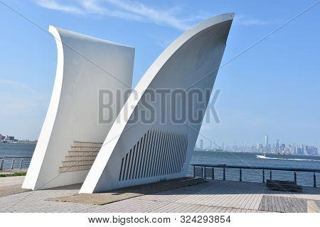 Staten Island, Ny - Jul 7:  Postcards-the Staten Island September 11 Memorial In New York, As Seen O