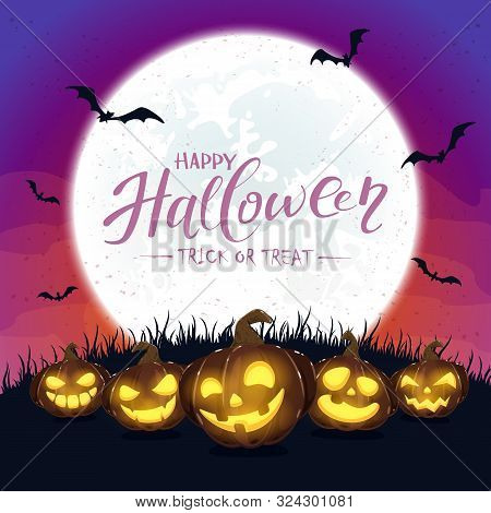 Purple Halloween Background With Pumpkins And Moon
