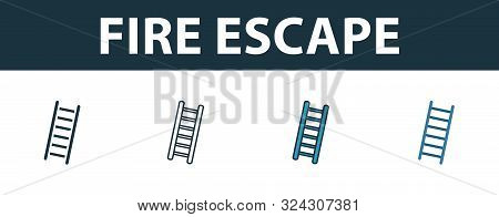 Fire Escape Icon Set. Premium Symbol In Different Styles From Fire Safety Icons Collection. Creative