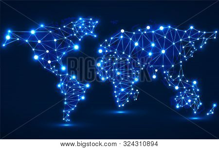 Abstract Polygonal World Map With Glowing Dots And Lines, Network Connections