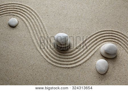 Zen Garden, Stone On Sand. Top View