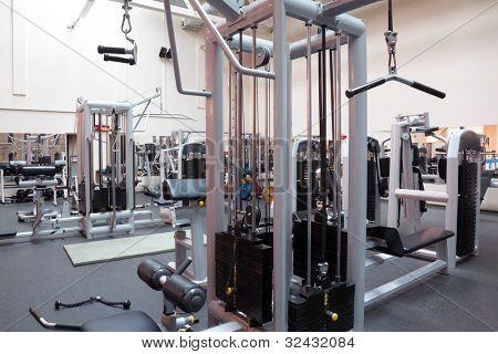 Empty fitness center hall