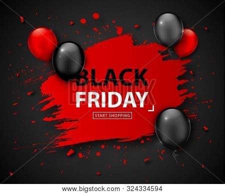 Black Friday Sale Poster. Seasonal Discount Banner With Red And Black Balloons And Grunge Red Frame