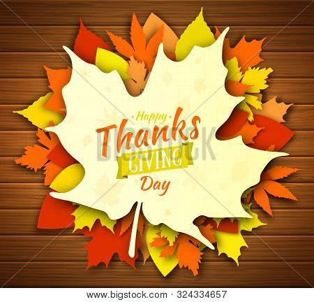 Thanksgiving Day Poster Design. Autumn Greeting Card. Fall Colorful Leaves With Lettering Happy Than