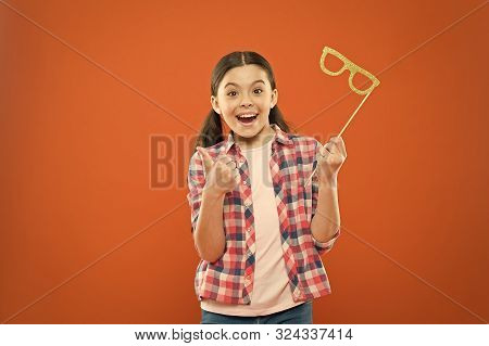 Perfect Props For Celebrating. Happy Little Child Showing Thumbs Up Hand To Glasses Props. Funny Sma