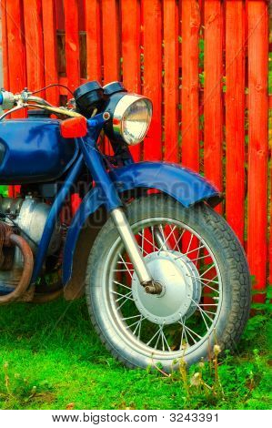 Vintage Old Fashioned Blue Motorcycle