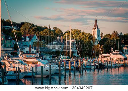 Mackinac Island Mi /usa - July 9th 2016: The Marina At Mackinac Island At Sunset