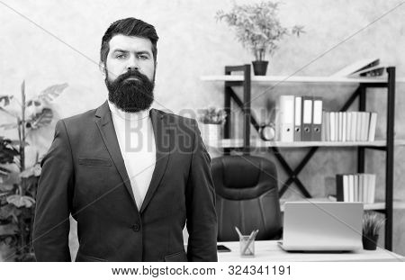 Incentive Program. Businessman In Formal Outfit. Confident Man Use Laptop. Boss Workplace. Coffee Br