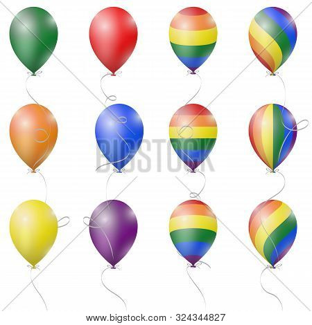 Realistic 3d Inflatable Air Balloon In Colorful Rainbow Lgbt Pride Gradient Flag Colors, Festive Sto