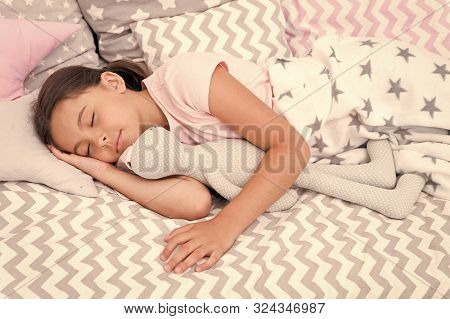 Girl Happy Child Lay Bed Pillow And Blanket Bedroom. Lullaby Concept. Ways To Fall Asleep Faster. Fa