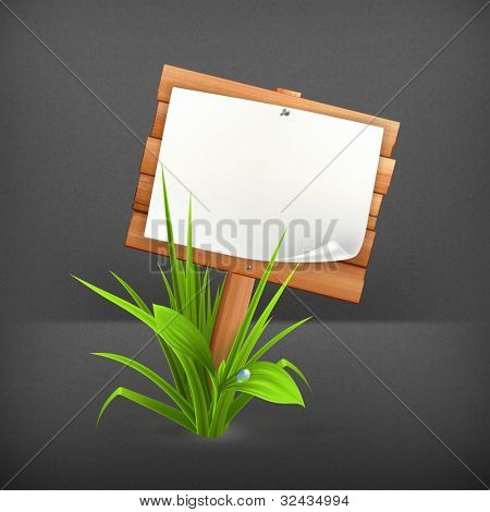 Wooden sign in grass, 10eps